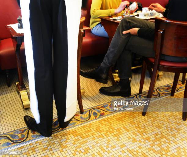 Waiter attending customers at cafe Les Deux Magots, in Paris, Frances