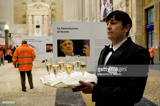 A waiter attends during the opening of the Frecciarossa the new high speed link between Milan and Bologna on December 13 2008 in Milan Italy The new...