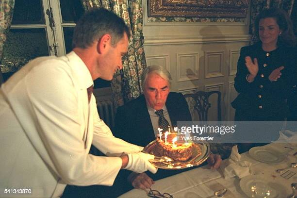 Waiter Giving Gregory Peck a Birthday Cake
