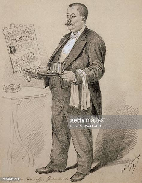 Waiter in a Viennese coffee house drawing by Friedrick Kaskeline