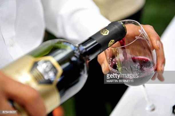 A waiter pours red wine into a glass during the Grape Harvest Festival in Santa Cruz epicenter of the Colchagua valley some 160 km south from...