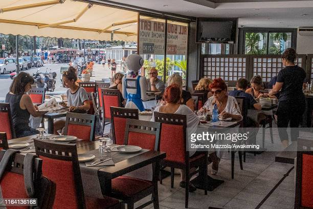 Waiter robot crosses the hall on July 25 2019 in Rapallo Italy The Gran Caffè Rapallo restaurant in Liguria is the first restaurant in Italy to use...