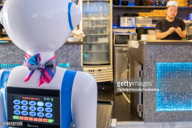 Waiter robot returns to the kitchen on July 25 2019 in Rapallo Italy The Gran Caffè Rapallo restaurant in Liguria is the first restaurant in Italy to...