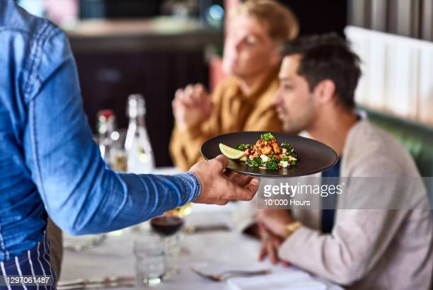 waiter serving plate of food to customers - assistance stock pictures, royalty-free photos & images
