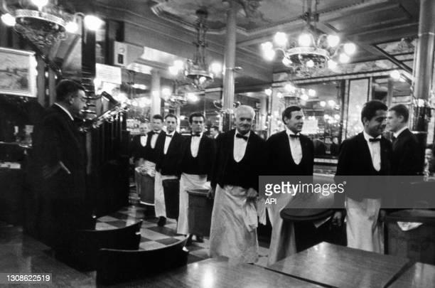 Waiters of The Brasserie Lipp in Paris, Eighties.