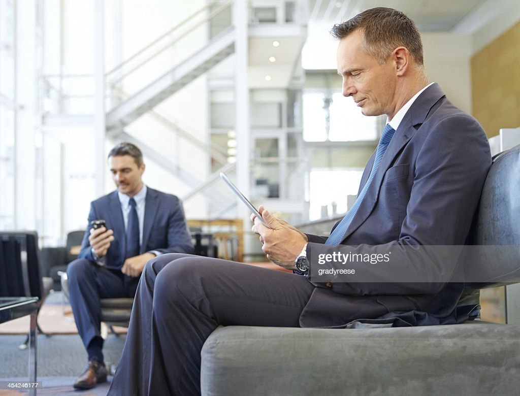 Waiting and preparing for his next meeting : Stock Photo