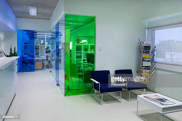 waiting area in a modern building - glass magazine stock photos and pictures