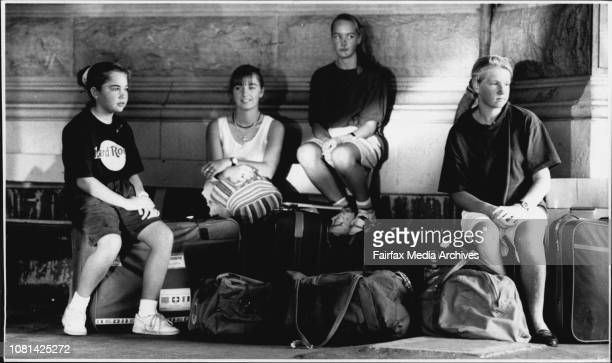 Waiting at Central for the bus home but not happily from left Jane Keeley Elizabeth Lang Josephine Edwards and Belinda Pratt The State Rail Authority...
