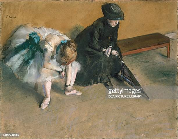 Waiting ca 1882 by Edgar Degas pastel on paper 482 x61 cm