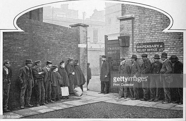 Waiting for admission to St Marylebone Workhouse Luxborough Street London circa 1901 From Living London Vol II by George R Sims [Cassell and Company...