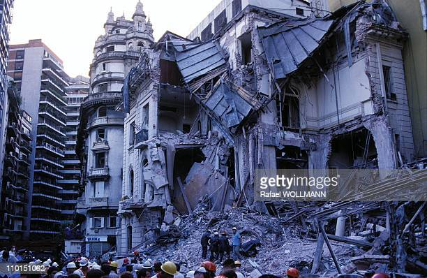 Waiting for anti Israeli against the embassy of Israel in Buenos Aires Argentina on March 17 1992