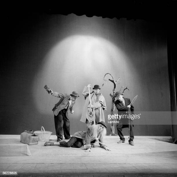 'Waiting for Godot' of Samuel Beckett Pierre Latour Jean Martin Albert Remy and Lucien Raimbourg Production of Roger Blin Paris theatre Hebertot june...