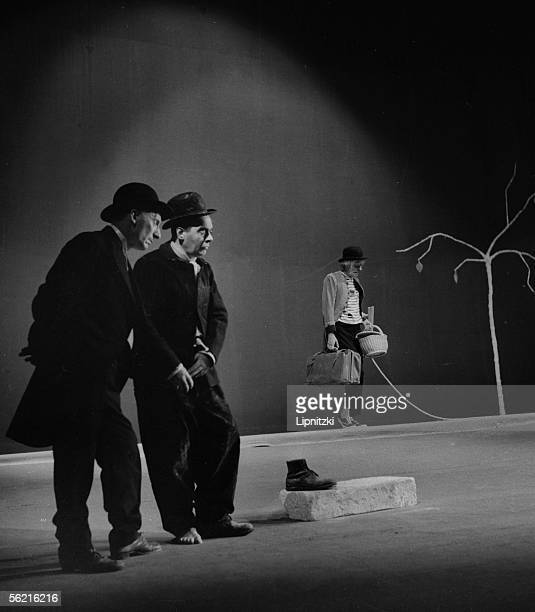 'Waiting for Godot' of Samuel Beckett Production JeanMarie Serreau Lucien Raimbourg Etienne Bierry and Jean Martin Paris theatre of Odeon 1961