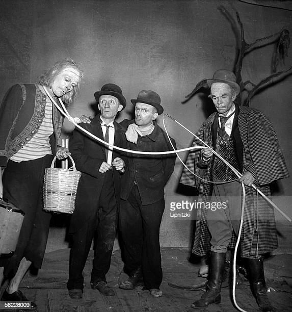 'Waiting for Godot' of Samuel Beckett Production of Roger Blin J Martin L Raimbourg P Latour and R Blin Paris theatre of Babylone 1953