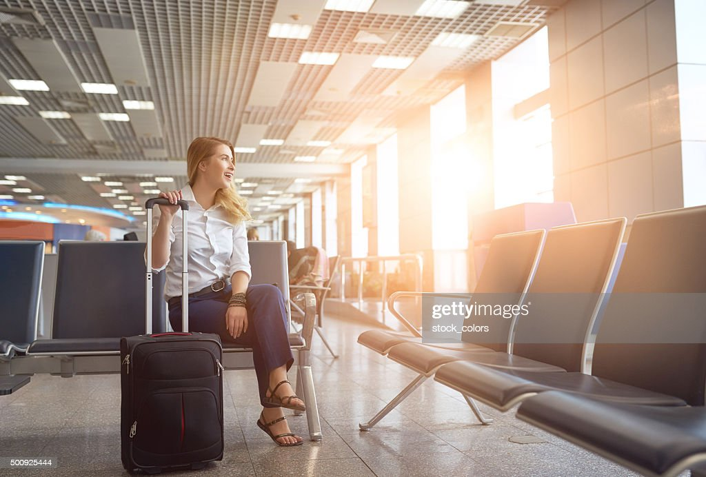 waiting for my plane : Stock Photo