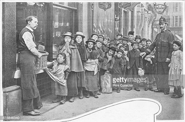 Waiting for parcels of food Cheapside circa 1903 From Living London Vol III by George R Sims [Cassell and Company Limited London Paris New York...