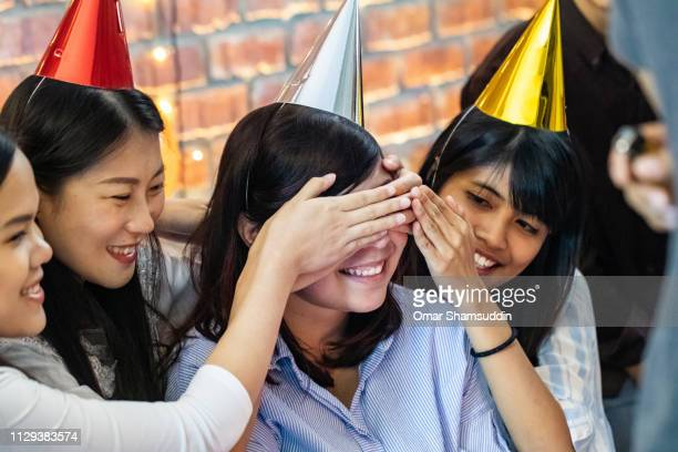 Waiting for surprise at birthday party