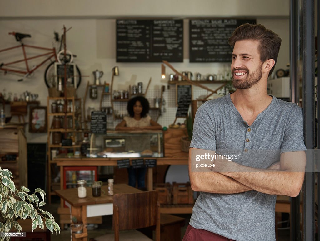Waiting for the first customer of the day : Stock Photo