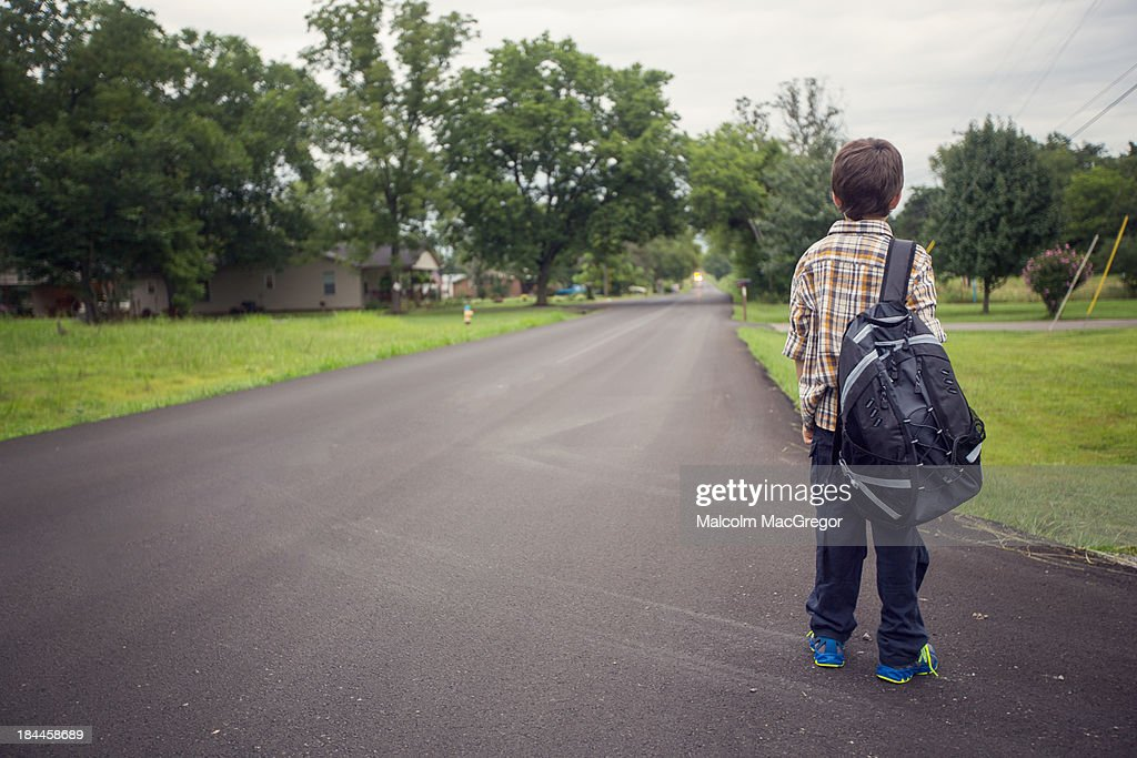 Waiting for the School Bus : Stock Photo