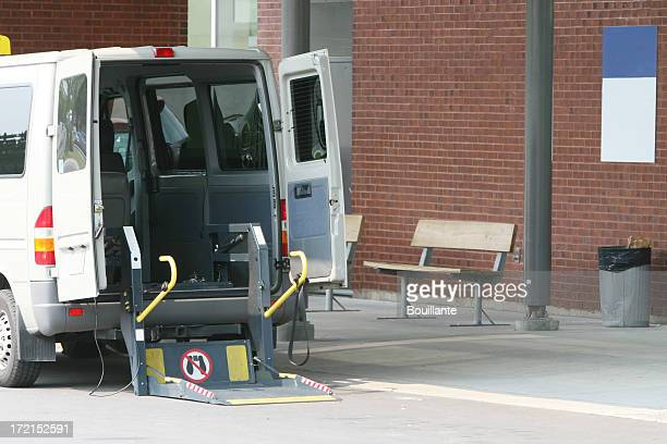 waiting for the wheelchair - mini van stock photos and pictures