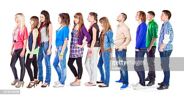 waiting in line - long hair stock pictures, royalty-free photos & images