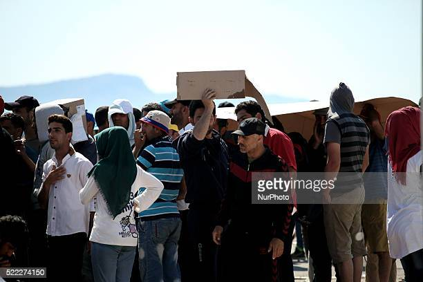 Waiting in the queue to register Refugee camp in Skaramaga area a port town 11 km west of Athens A large camp is being constructed here with a big...