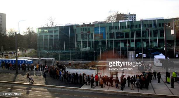 Waiting line along the outside of the Bauhaus Dessau museum on February 23 2019 in Dessau Germany Germany is celebrating the 100th anniversary of the...
