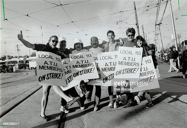 Waiting Line TTC strikers in their sixth day off the job keep up their spirits at the Connaught yard yesterday as they wait for word of a new...