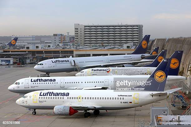 Waiting Lufthansa airplane on the first of a twoday strike at Frankfurt Airport on November 23 2016 in Frankfurt Germany Lufthansa pilots represented...