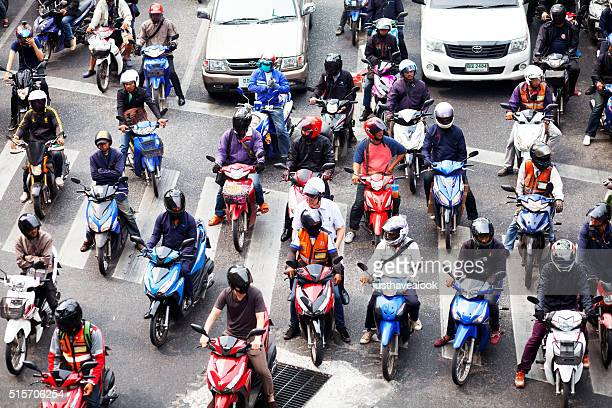 Waiting motorcycle drivers