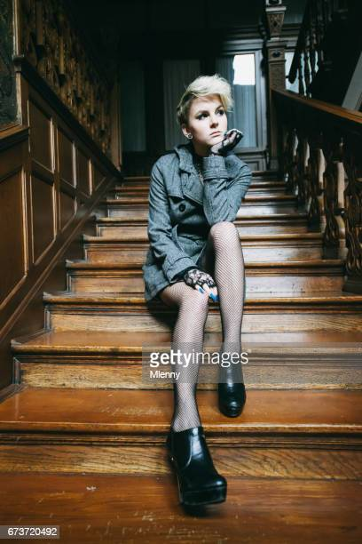 Waiting on old wooden Stairway Woman Portrait