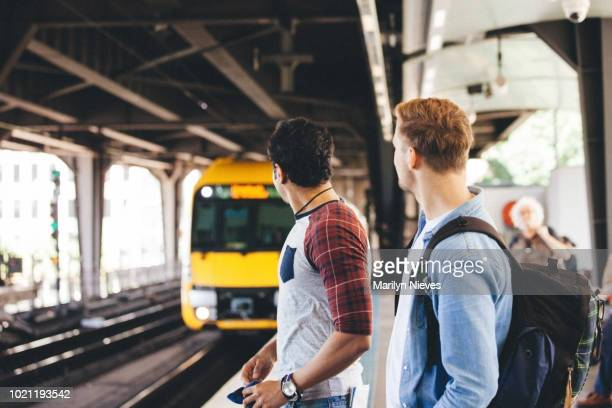 waiting on the platform for the train - sydney stock pictures, royalty-free photos & images