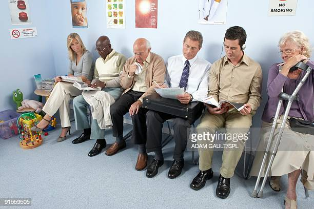 Waiting room filled with patients