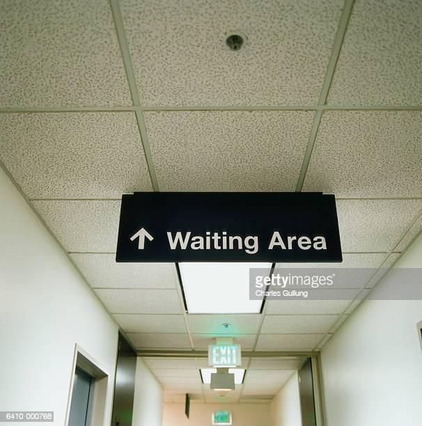 Waiting Room Sign in Corridor