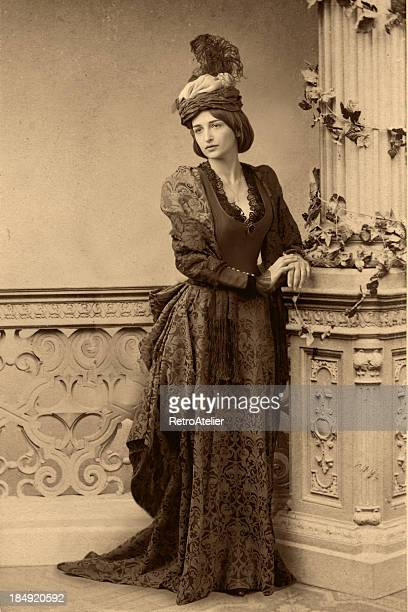 waiting.victorian style portrait. - victorian style stock pictures, royalty-free photos & images