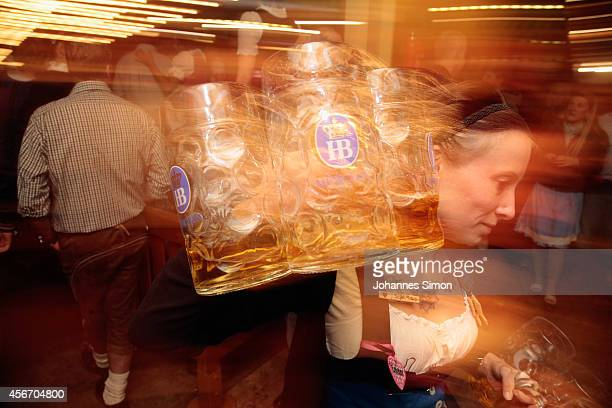 A waitres carries beer mugs during the last hour of the 2014 Oktoberfest on October 5 2014 in Munich Germany The 181st Oktoberfest ends today having...