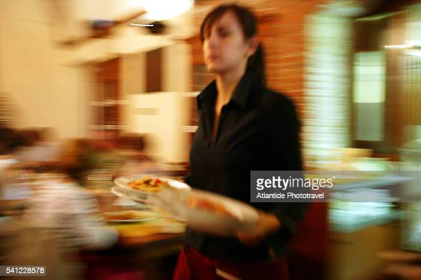 Waitress Carrying Food