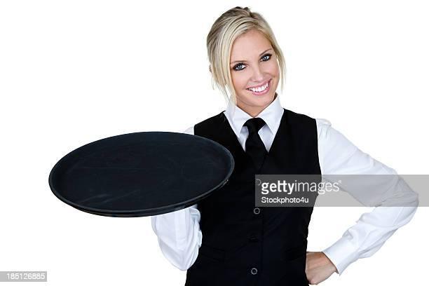 Waitress holding serving tray