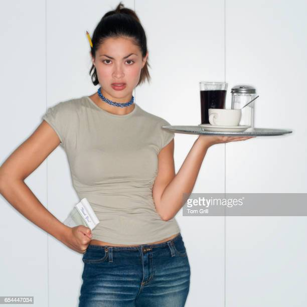 waitress holding tray - トレイ ストックフォトと画像
