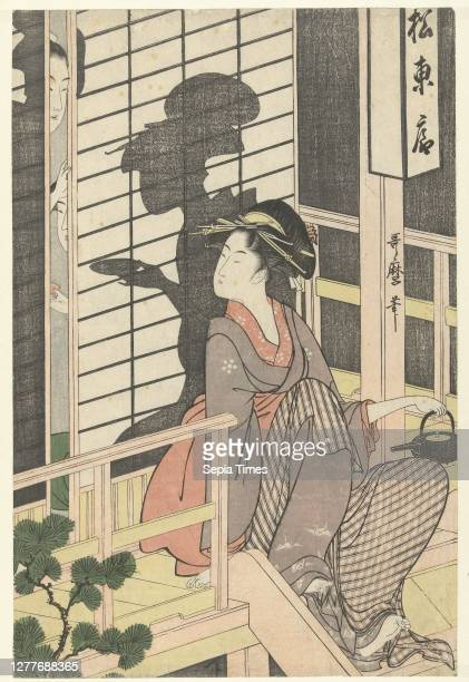 Waitress of the Matsu Higashiya teahouse, Waitress with sake kettle in left hand, sitting on the veranda of a teahouse, looking at the sliding door...