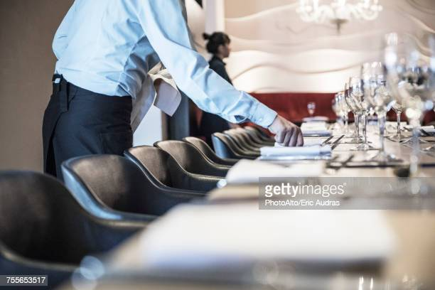 waitress setting table - silver service stock pictures, royalty-free photos & images