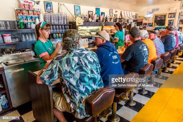 Waitress takes breakfast order at Peggy Sue's Americana Route 66 inspired diner in Yermo California about eight miles outside of Barstow