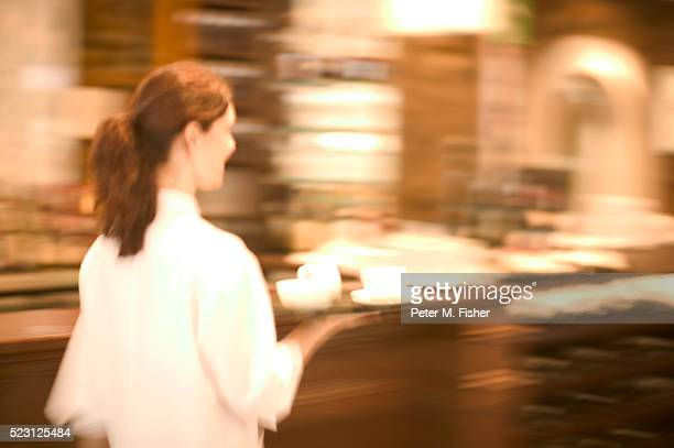 Waitress with Tray of Coffee