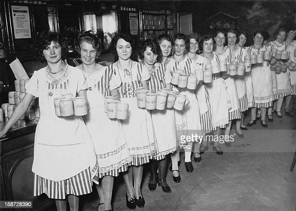 Waitresses in a beer hall in Berlin Germany selling Neue Welt beer circa 1925