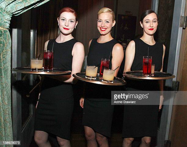 Waitresses wearing Soho Grand Dresses designed by Mandy Coon are seen at Soho Grand Hotel on February 13, 2012 in New York City.