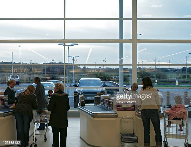 Waitrose Lichfield, Lichfield, United Kingdom, Architect Michael Aukett Architects, Waitrose Lichfield Checkouts And Glass Wall.
