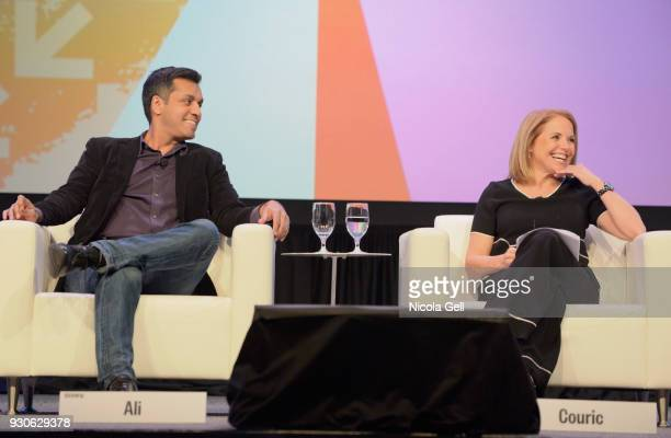 Wajahat Ali and Katie Couric speak onstage at Katie Couric podcast LIVE The Muslim Next Door during SXSW at Austin Convention Center on March 11 2018...