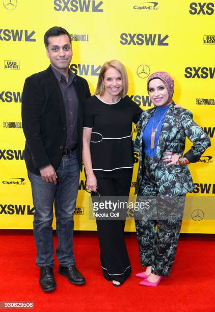 Wajahat Ali Katie Couric and Mona Haydar attend Katie Couric podcast LIVE The Muslim Next Door during SXSW at Austin Convention Center on March 11...