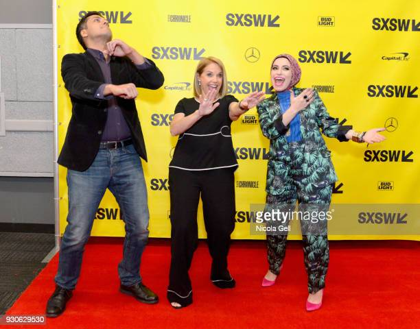 Wajahat Ali Katie Couric and Mona Haydar speak onstage at Katie Couric podcast LIVE The Muslim Next Door during SXSW at Austin Convention Center on...
