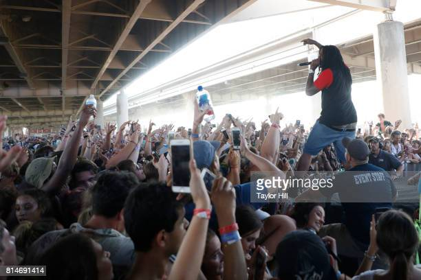 Waka Flocka Flame performs during the 2017 Forecastle Music Festival at Waterfront Park on July 14 2017 in Louisville Kentucky